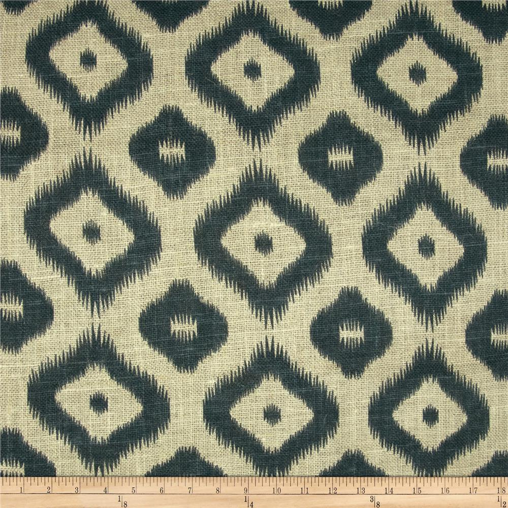 54'' Printed Burlap Large Ikat Charcoal
