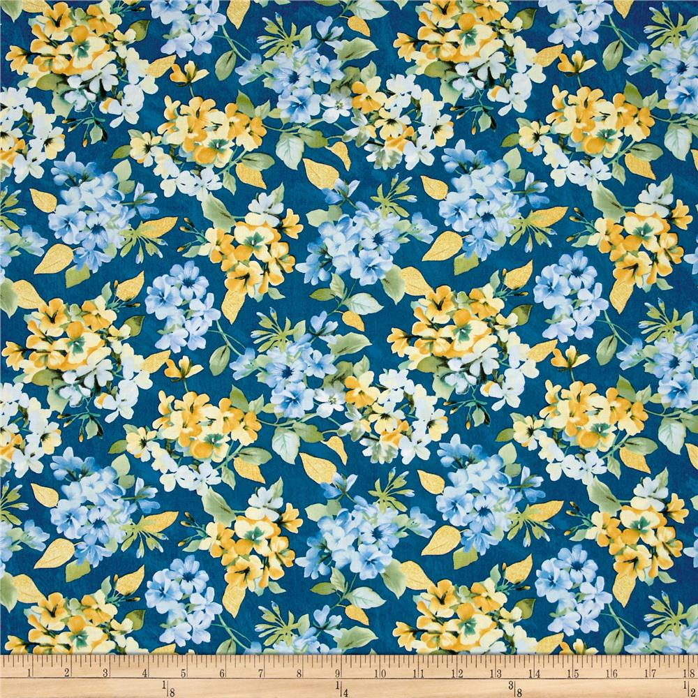Timeless Treasures Metallic Fly Away Floral Bunches Blue