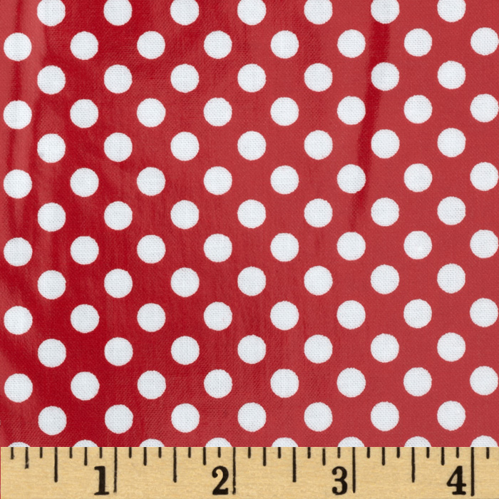 Riley Blake Laminated Cotton Small Dots Red/White Fabric