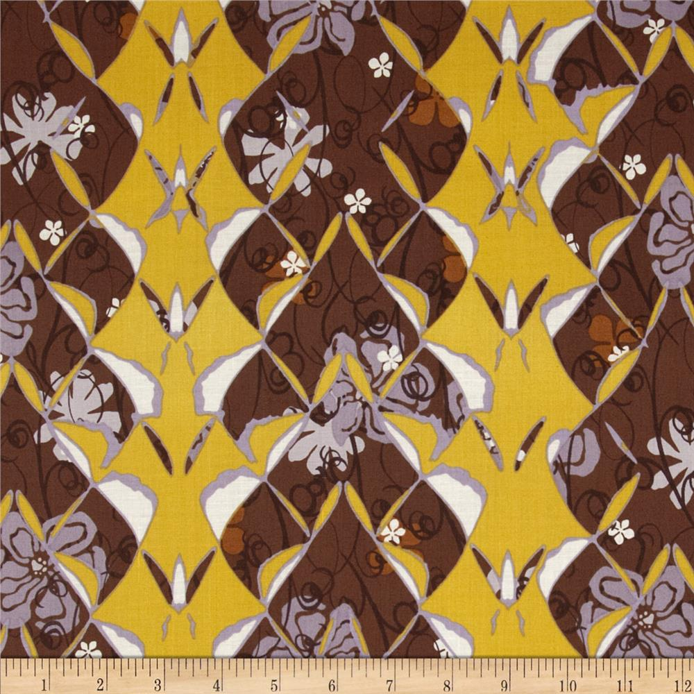 Kyoto Gardens Lotus Abstract Brown