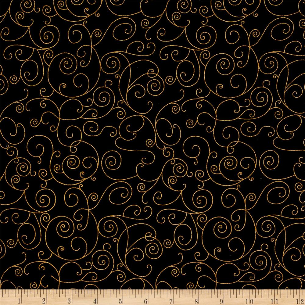 110 In. Wide Quilt Back Willow Black/Gold Fabric