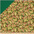 Season's Greetings 2013 Double Sided Quilted Paisley Green