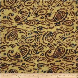 Indian Batik Bronze Mosaic Paisley Natural
