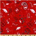 Collegiate Cotton Broadcloth University of Arkansas Bandana Red