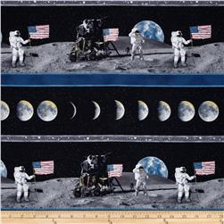 Flying High Man On The Moon Scenic Stripe Black