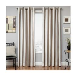 Sunbrella 84'' Grommet Stripe Outdoor Panel Natural/Cocoa