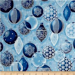 Kaufman Winter Grandeur Metallic Ornaments Frost