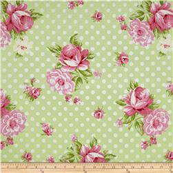 Tanya Whelan Rosey Roses and Mums Green Fabric