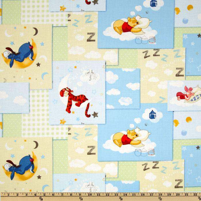 Sleepy Pooh Nursery Block Patch Mint Green