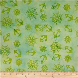 Batik by Mirah Peach Bite Anchors Citron Bite Green