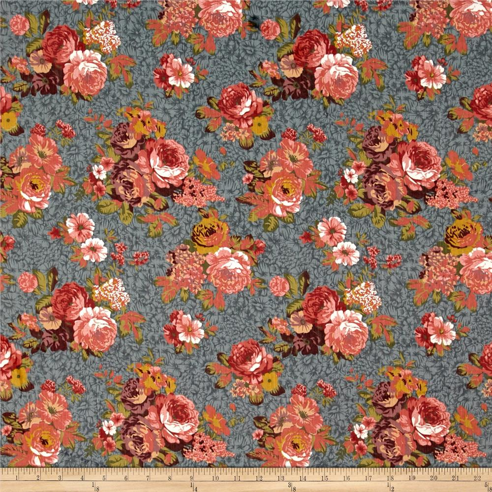 Fashion Printed Denim Vintage Rose Floral