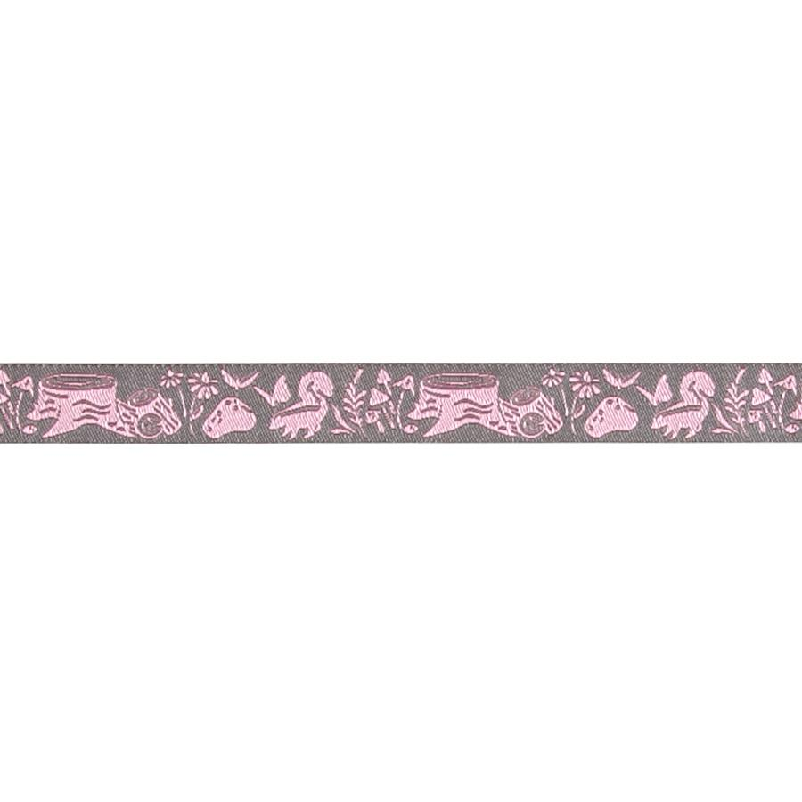 "5/8"" Tula Pink Blush Meadow Pink Ribbon Gray"
