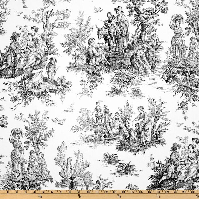 Premier Prints Colonial Toile Black/Ivory