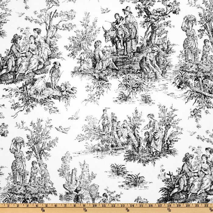 Premier Prints Colonial Toile Black/White Fabric