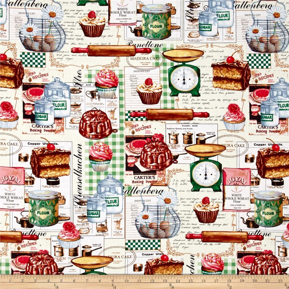 Just Desserts All Over Baking Motifs Multi Fabric By The Yard