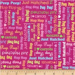 Just Hatched Easter Words Fuchsia