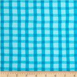 Animal ABC's Flannel Gingham Turquoise