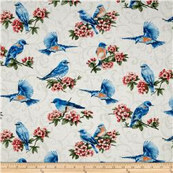 Bluebird Gathering Allover Bluebirds Cream