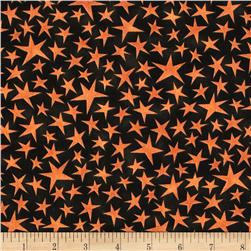 Black Cat Crossing Stars Orange Black