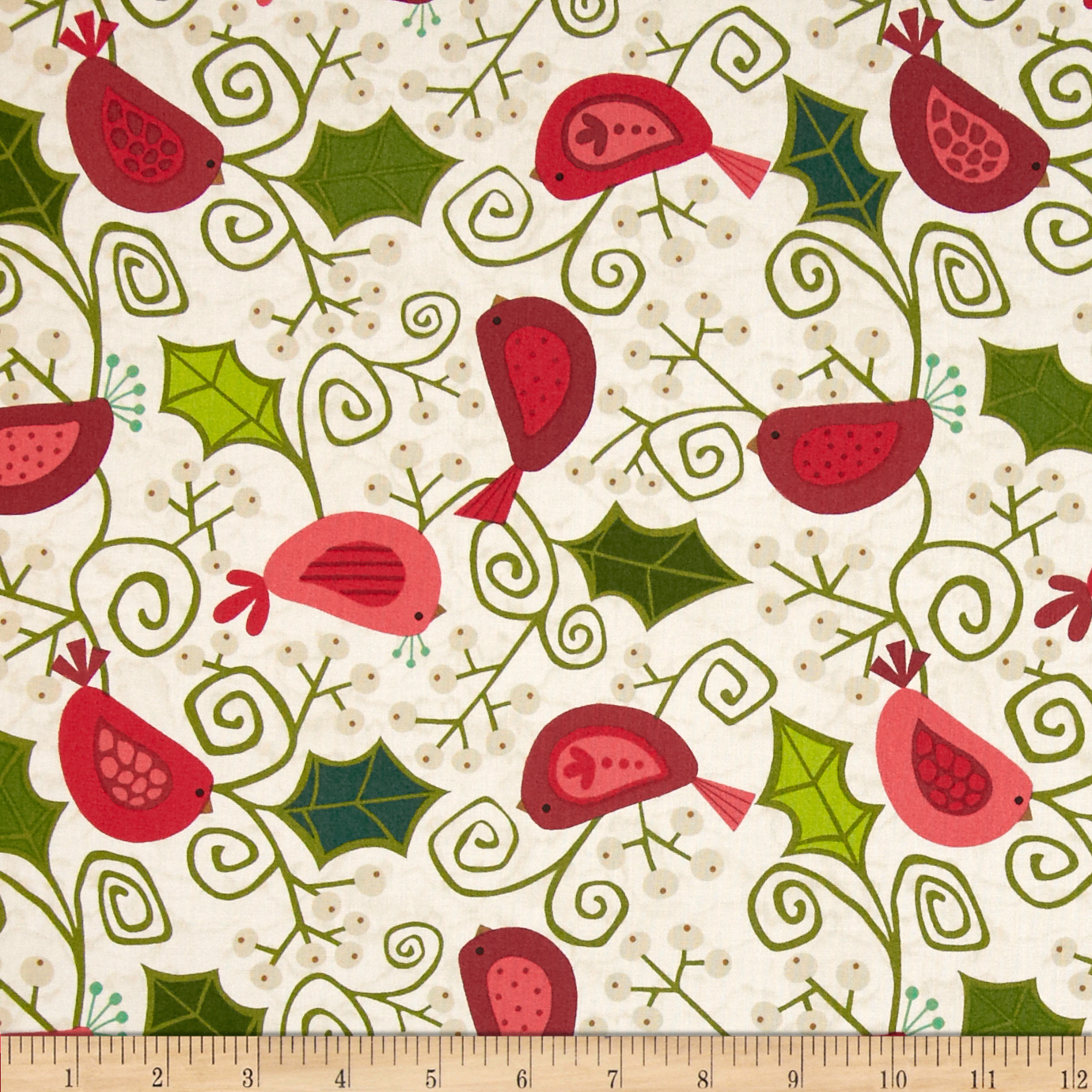 Evergreen Birdies White Fabric