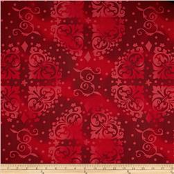 108'' Wide Quilt Backing Medallion Tonal Red Fabric