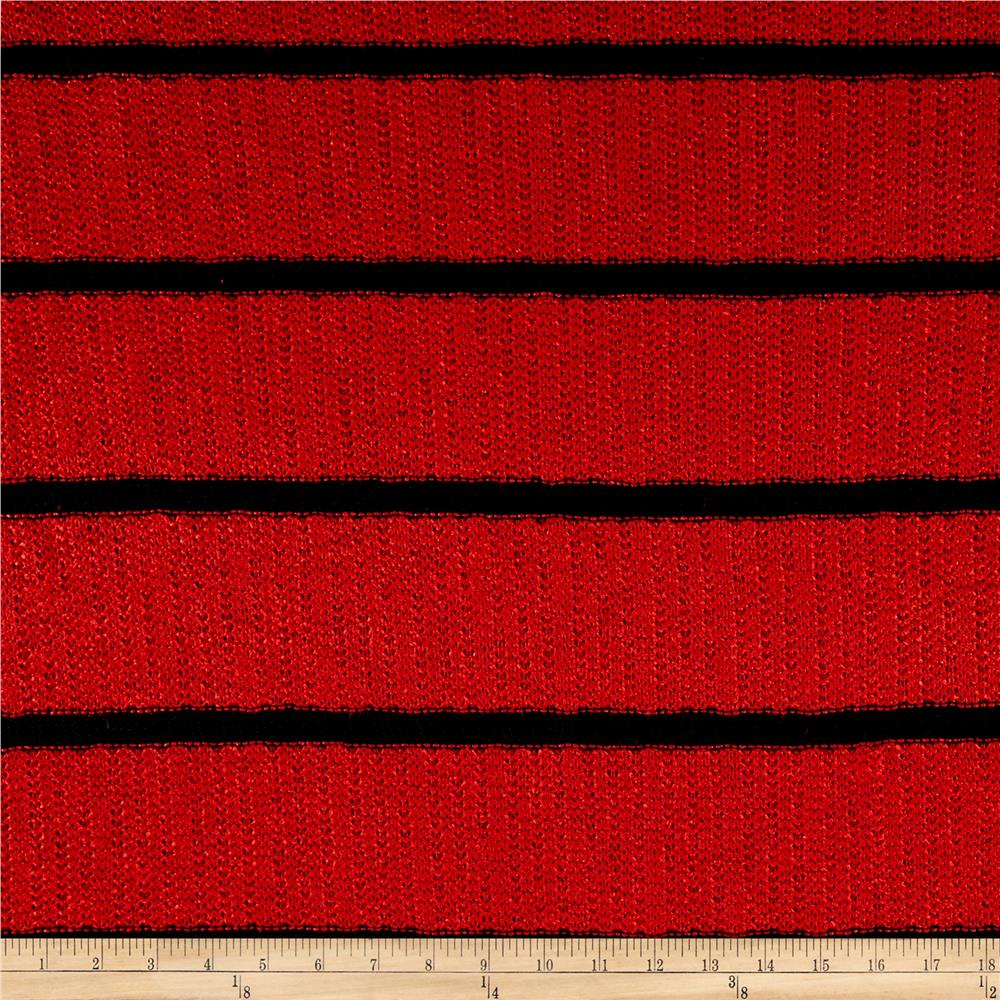 Designer Sweater Knit  Stripe Red Navy Fabric By The Yard