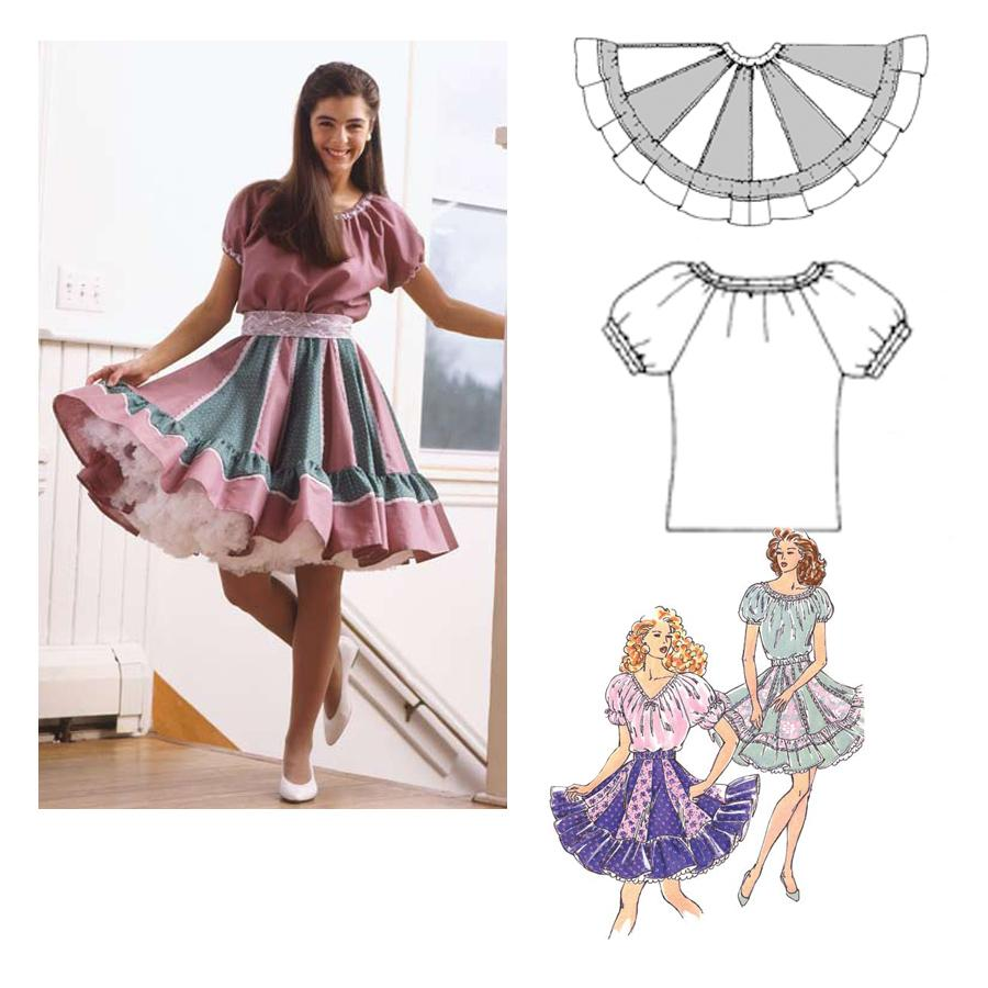 Kwik Sew Square Dance Skirts and Blouses Patterns