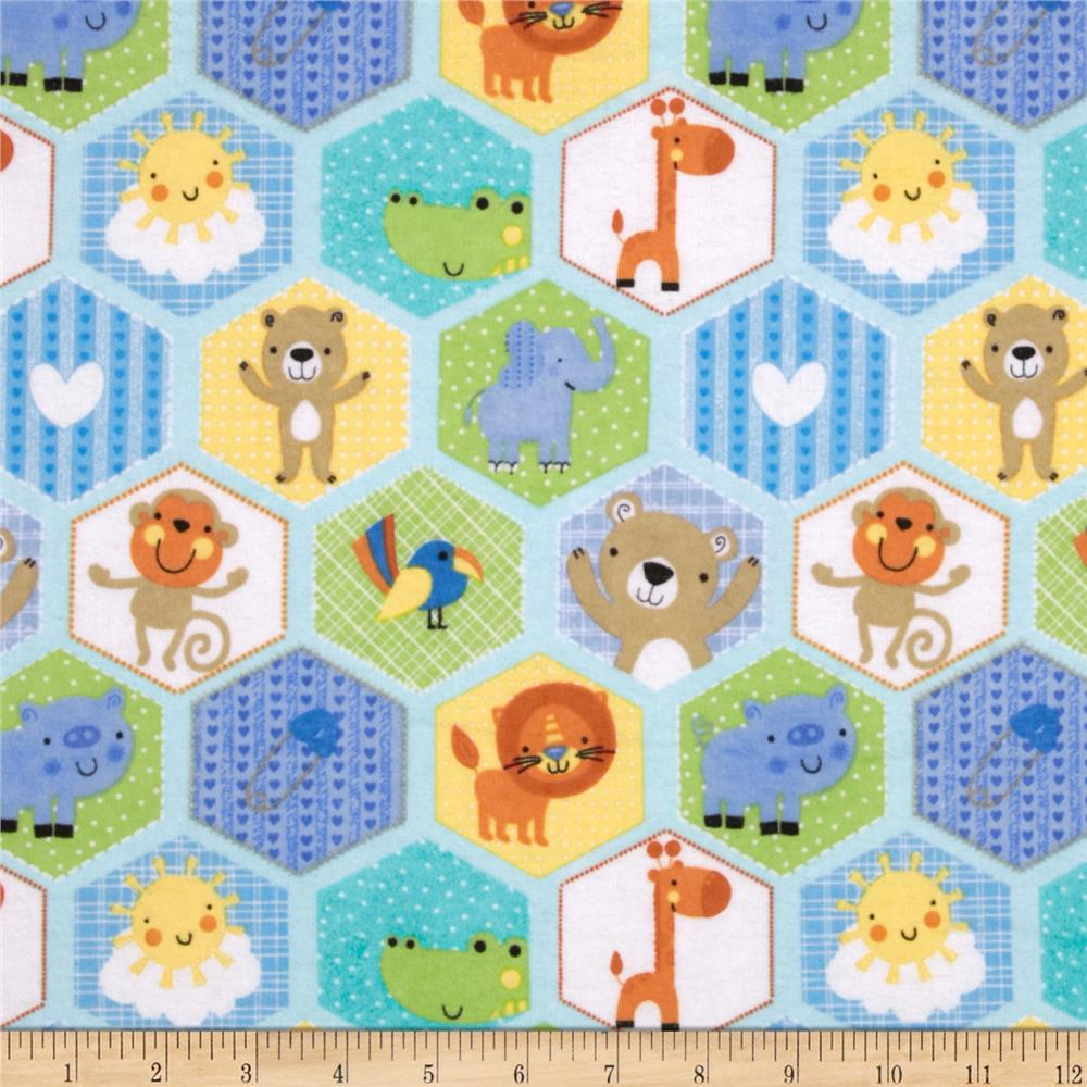 Flannel Hexigon Animals Blue