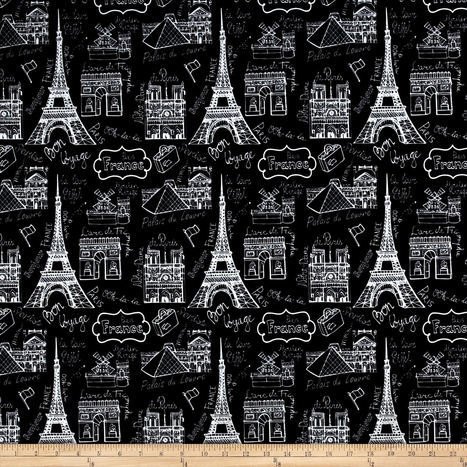 Pine Crest Fabrics Vive la France  on Olympus Athletic Double Knit Black/White 0540388