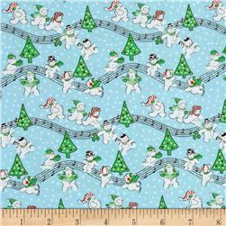 Storybook Christmas Singing Snowmen Blue
