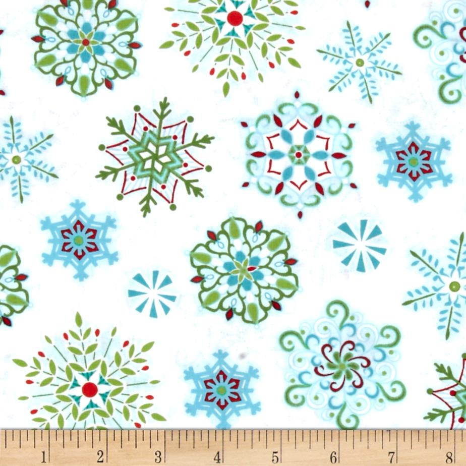 Sparkle Snowflakes White/Multi Fabric By The Yard