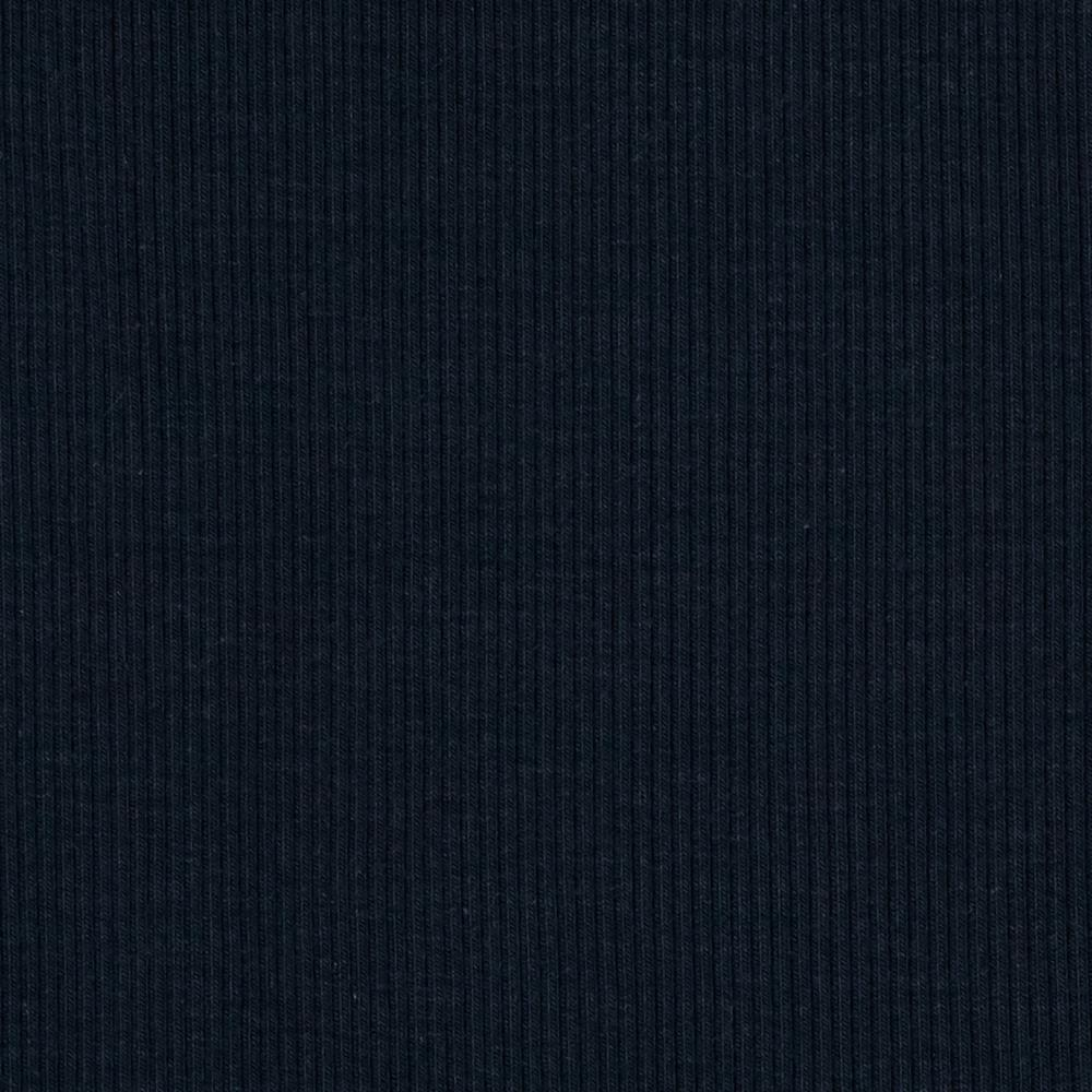 Stretch Bamboo Rayon Rib Knit Solid Dark Blue