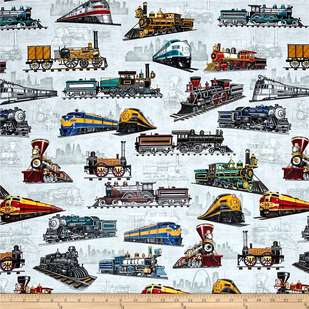 Full steam ahead train allover light gray discount for Train print fabric