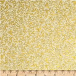 Robert Kaufman Winters Grandeur Metallic Small Vines Ivory