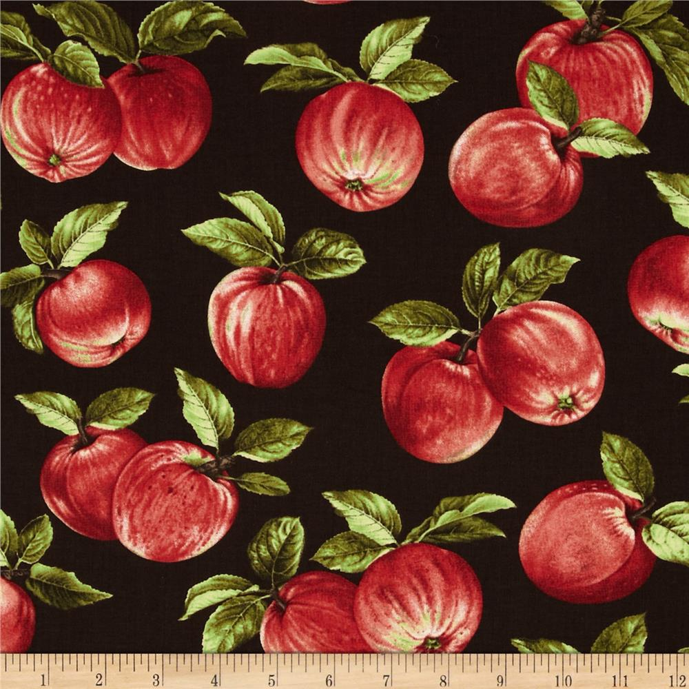 Apple picking time apple orchard espresso discount designer fabric for Home interiors apple orchard collection