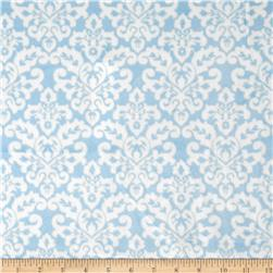 Minky Cuddle Classic Damask Baby Blue/White Fabric
