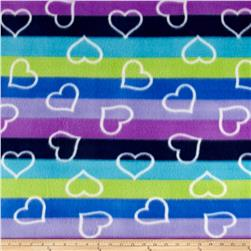 Polar Fleece Print Ombre Hearts Lagoon