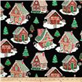 Timeless Treasures Metallic Gingerbread Houses Black