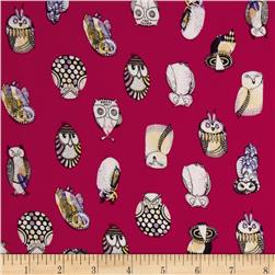 Monet Rayon Sateen Owls Fuchsia