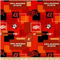 Collegiate Cotton Broadcloth Oklahoma State University Block Print Orange