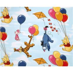 Pooh Fleece Balloons in the Sky Blue