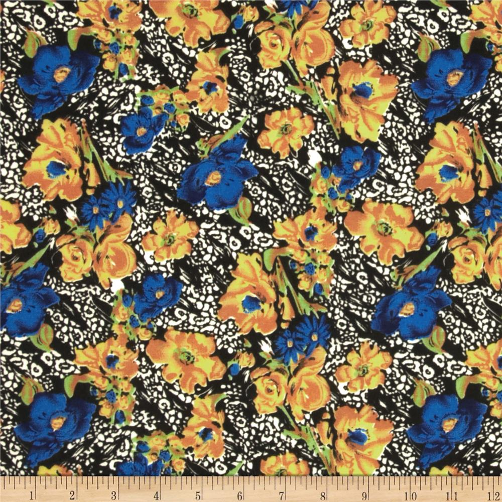 Jungle Safari Broadcloth Flowers Royal