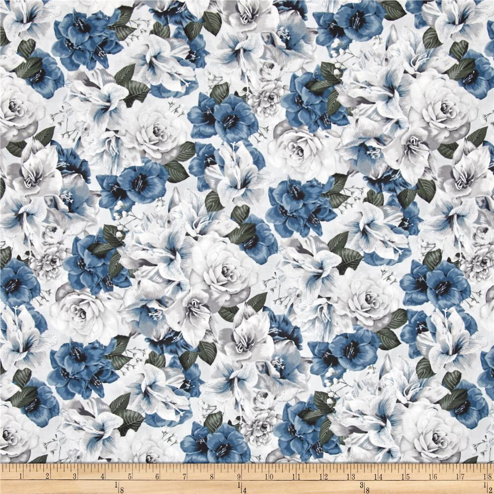 Floral Perspective Large Packed Florals Dusty Blue