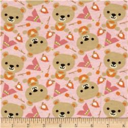 Outdoor Heaven Flannel Bear Camping Pink