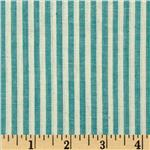 Yarn Dyed Shirting Stripe Teal/Natural