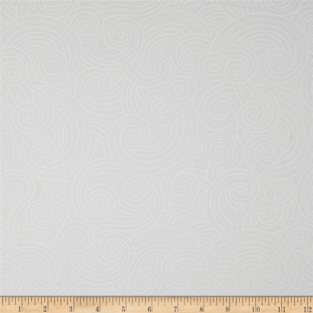 "Essential Dotty Waves 108"" Wide Quilt Back White on White"