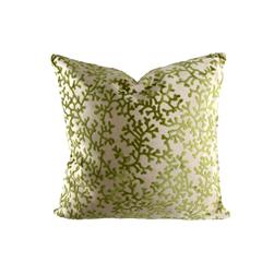 "18"" x 18"" Charleston Coral Throw Pillow Velvet Green"