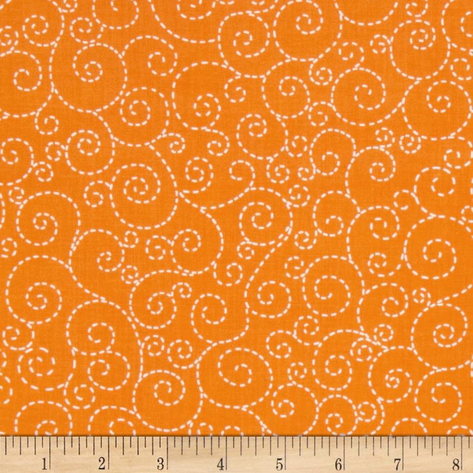 Timeless Treasures Stitch Scroll Orange