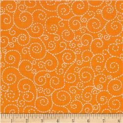 Timeless Treasures Stitch Scroll Orange Fabric