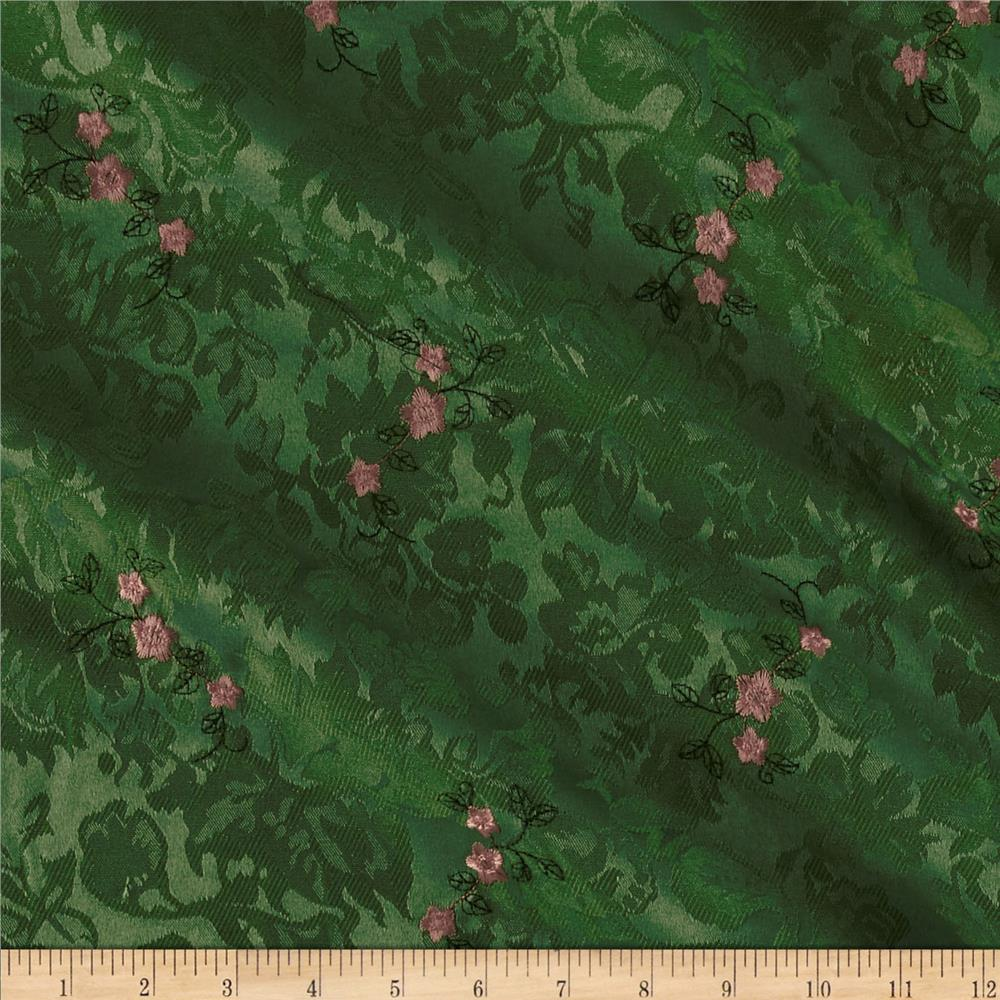 Angelique Embroidered Jacquard Floral Green